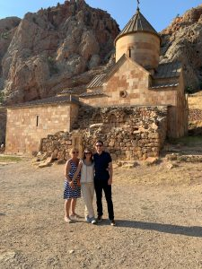 Liz with her mother and husband in Armenia