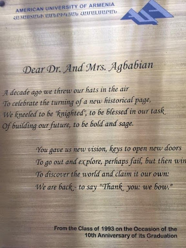 A poem written by the Class of '93 dedicated to the Founders of AUA